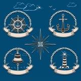 Морской ярлык с шестерней корабля Стоковые Фотографии RF