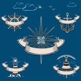 Морской ярлык с шестерней корабля бесплатная иллюстрация