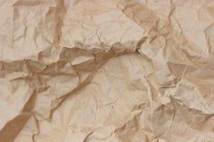 Морщинка Брайна рециркулирует бумажную предпосылку скомканная бумажная текстура Текстура rumpled старого бумажного конца-вверх стоковое изображение rf