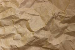Морщинка Брайна рециркулирует бумажную предпосылку скомканная бумажная текстура Текстура rumpled старого бумажного конца-вверх стоковая фотография