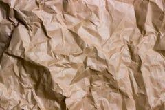 Морщинка Брайна рециркулирует бумажную предпосылку скомканная бумажная текстура Текстура rumpled старого бумажного конца-вверх стоковая фотография rf