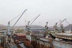 Мор-ремесла, доки и краны порта Стоковое фото RF