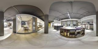 Москва - 2018: Красивый модный интерьер магазина дизайна мебели в современном моле с интерьером просторной квартиры Конкретный по Стоковая Фотография