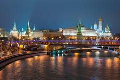 Москва Кремль на ноче Стоковая Фотография