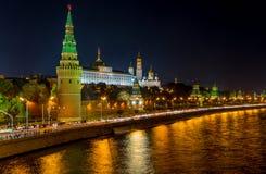 Москва Кремль на ноче Стоковая Фотография RF