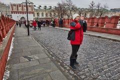 Москва - 15 04 2017: Москва Кремль, зимнее время Стоковые Изображения