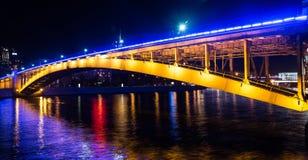 Москва на ноче, brogde метро Smolenskij Стоковые Изображения