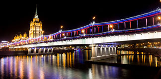 Москва на ноче, prospekt Kutuzovskiy Стоковые Фото