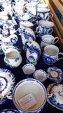 Москва/Российская Федерация - 15-ое сентября 2018: ¡ Ross Ð нация 2 Рынок керамика Gzhel стоковые фото