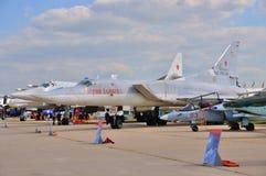 МОСКВА, РОССИЯ - АВГУСТ 2015: стратегический бомбардировщик Tu-22M Backfi забастовки Стоковая Фотография RF