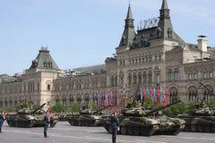 Москва, Россия - могут 09, 2008: торжество парада дня WWII победы на красной площади Торжественный проход воинского оборудования, Стоковая Фотография