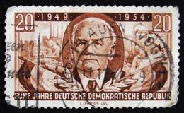 МОСКВА, РОССИЯ - 2-ОЕ АПРЕЛЯ 2017: Штемпель столба напечатанный в ГДР (ger Стоковое Изображение RF