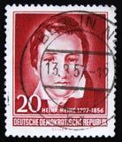 МОСКВА, РОССИЯ - 2-ОЕ АПРЕЛЯ 2017: Штемпель столба напечатанный в ГДР (ger Стоковое Изображение