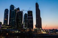 Москва, Россия - 9-ое апреля 2013 Деловый центр города Москвы на Стоковое Изображение