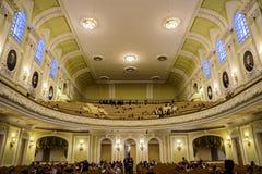 Москва, Россия 30-ое декабря 2017: Большой зал консерватории Москвы Tchaikovsky Стоковые Изображения