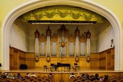 Москва, Россия 30-ое декабря 2017: Сцена большого зала консерватории Москвы Tchaikovsky Стоковое Фото