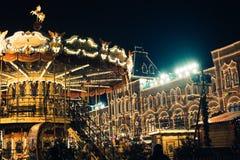 Москва, Россия - 1-ое декабря 2016: украшенный красной площадью Нового Года в Москве, КАМЕДЬ Стоковое Фото