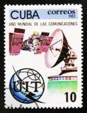 МОСКВА, РОССИЯ - 15-ОЕ ИЮЛЯ 2017: Штемпель напечатанный в Кубе показывает sp Стоковые Фото