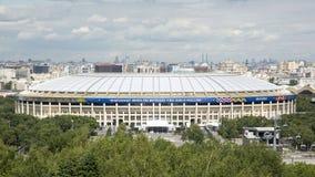 МОСКВА, РОССИЯ - 7-ОЕ ИЮНЯ 2018: Взгляд стадиона Luzhniki Самый большой футбольный стадион в России Кубок мира 2018 ФИФА стоковая фотография