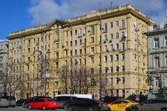 Москва, Россия - 14-ое марта 2016 Архитектура домов сталинист на кольце сада Стоковое Изображение