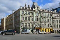 Москва, Россия - 14-ое марта 2016 Архитектура домов сталинист на кольце сада Стоковая Фотография