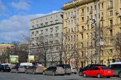 Москва, Россия - 14-ое марта 2016 Архитектура домов сталинист на кольце сада Стоковое Изображение RF