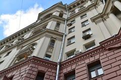 Москва, Россия - 14-ое марта 2016 Архитектура домов сталинист на кольце сада Стоковые Изображения