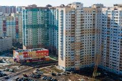 МОСКВА, РОССИЯ - 10-ое марта 2015, зона новых зданий на окраинах Москвы Стоковое Фото