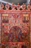 Москва, Россия - 19-ое марта 2017: Старый русский distaff с подлинной фольклорной картиной, красивым, красочным, сложным чертежом Стоковые Изображения RF