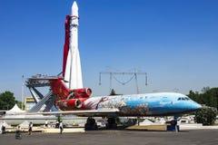 МОСКВА, РОССИЯ 20-ОЕ МАЯ Самолет-галерея (TU-154) в VVC в Mosc Стоковая Фотография