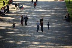 Москва, РОССИЯ - 18-ое сентября: люди на улице 18-ого сентября 2014 Стоковое Фото