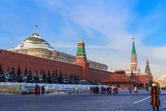 Москва, Россия - 14-ое февраля 2018: Взгляд Москвы Кремля на солнечном утре зимы Стоковые Изображения