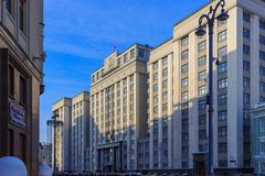 Москва, Россия - 14-ое февраля 2018: Здание Государственной Думы федерального собрания Российской Федерации в Москве Стоковые Изображения RF