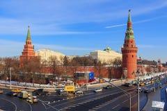 Москва, Россия - 14-ое февраля 2018: Москва Кремль на солнечном утре зимы зима moscow Стоковое Изображение RF