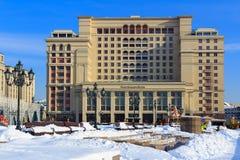 Москва, Россия - 14-ое февраля 2018: пятизвездочная гостиница 4 сезонов около красной площади зима moscow Стоковое Изображение