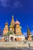 МОСКВА, РОССИЯ - 26-ОЕ ФЕВРАЛЯ 2016: Собор Vasily благословлять, известный как собор базилика Святого Стоковые Фото