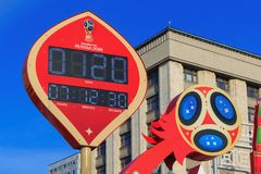 Москва, Россия - 14-ое февраля 2018: Таймер комплекса предпусковых операций до начинать кубка мира России 2018 ФИФА чемпионата на Стоковое фото RF