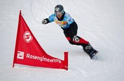 Спортсмен сноуборда стоковая фотография rf