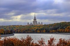 View of the Vorobyovy Gory and Moscow State University, Moscow stock photo