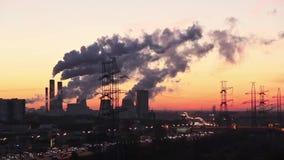 Москва outskirts промышленный ландшафт на восходе солнца акции видеоматериалы
