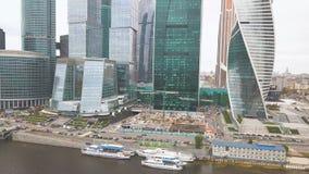 Москв-город зажим Россия Грандиозные небоскребы на портовом районе около реки Москвы Башня развития a стоковое изображение rf