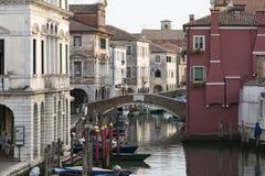 Мосты и канал в Chioggia Стоковые Изображения RF