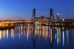 Мосты Портленда на ноче Стоковое Изображение