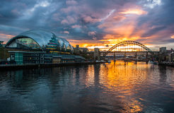 Мосты Tyne на заходе солнца стоковая фотография