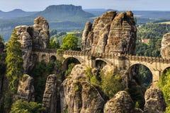Мост бастиона в Саксонии около Дрездена Стоковые Фотографии RF
