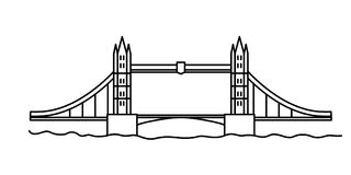 Мост башни Лондона линейный Стоковое Изображение