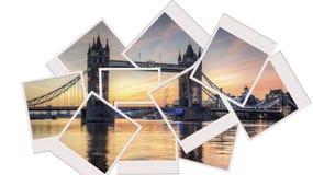 Мост башни на коллаже поляроида восхода солнца Стоковое Изображение RF