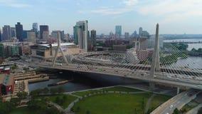 Мост Бостона Леонарда Zakim воздушного трутня видео- видеоматериал