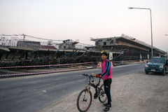 Мост был построенным оползнем причиненным много факторов Стоковое Фото