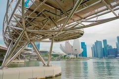 Мост винтовой линии на заливе Марины, Сингапуре Стоковые Изображения RF